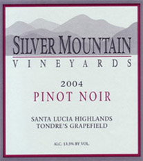 Silver Mountain Vineyards, Santa Lucia Highlands Pinot Noir