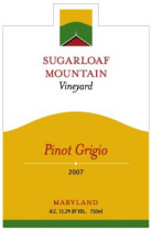 Sugarloaf Mountain Vineyard-Pinot Grigio