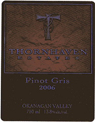 Thornhaven Estates Winery pinot gris