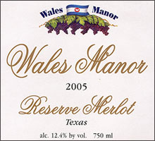Wales Manor Winery and Vineyard-Reserve Merlot