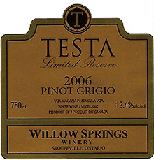 Willow Springs Winery-Pinot Grigio