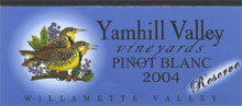 Yamhill Valley Vineyards-Pinot Blanc Reserve