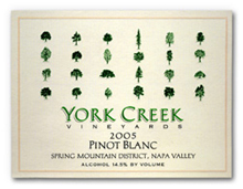 York Creek Vineyards Pinot Blanc