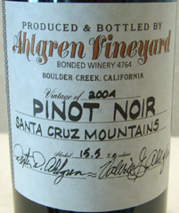 Ahlgren Vineyard Santa Cruz Mountains Pinot Noir