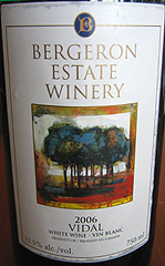 Bergeron Estate Winery Vidal