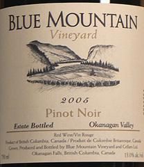 Blue Mountain Vineyard Pinot Noir