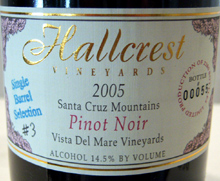 Hallcrest Vineyards Santa Cruz Mountains Pinot Noir