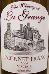 The Winery at La Grange Virginia Cabernet Franc