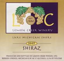Lemon Creek Winery Shiraz - Lake Michigan Shore AVA