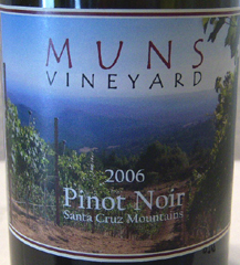 Muns Vineyard Santa Cruz Mountains Pinot Noir