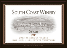 South Coast Winery Temecula Syrah
