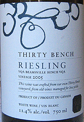 Thirty Bench Wines - 2005 Riesling