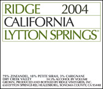 Ridge ~ Lytton Springs Winery, Dry Creek Valley, California